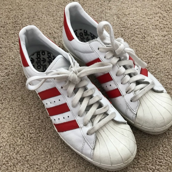 best service e6c17 3ef9f adidas Shoes - Adidas Superstar Red Striped Sneakers